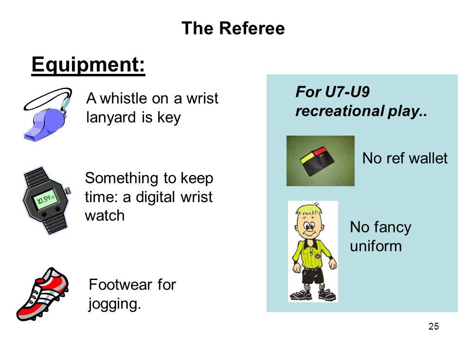 Equipment: The Referee For U7-U9 recreational play..