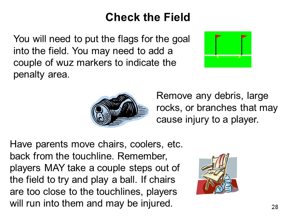 Check the Field You will need to put the flags for the goal into the field. You may need to add a couple of wuz markers to indicate the penalty area.