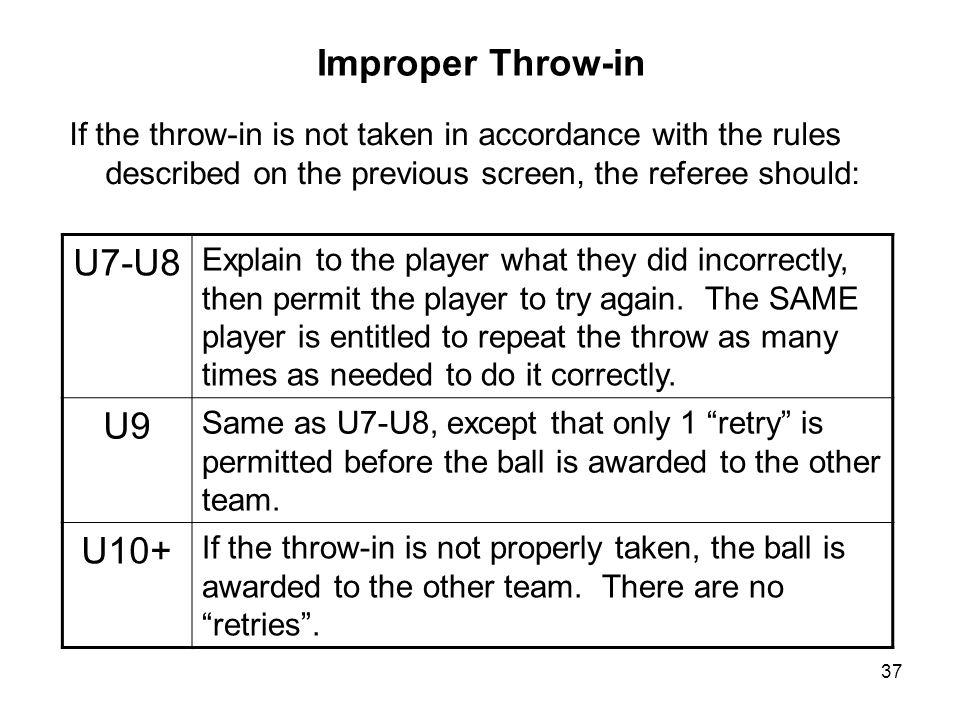 Improper Throw-in U7-U8 U9 U10+