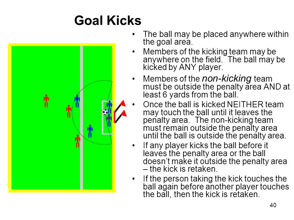 Goal Kicks The ball may be placed anywhere within the goal area.