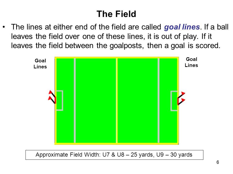 Approximate Field Width: U7 & U8 – 25 yards, U9 – 30 yards