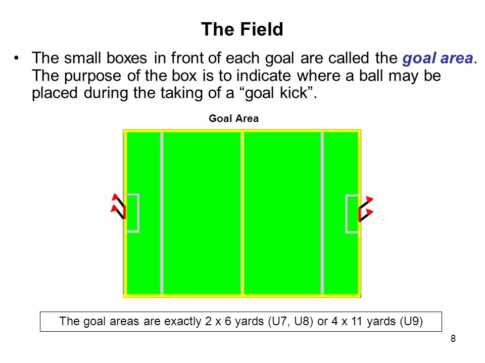The goal areas are exactly 2 x 6 yards (U7, U8) or 4 x 11 yards (U9)