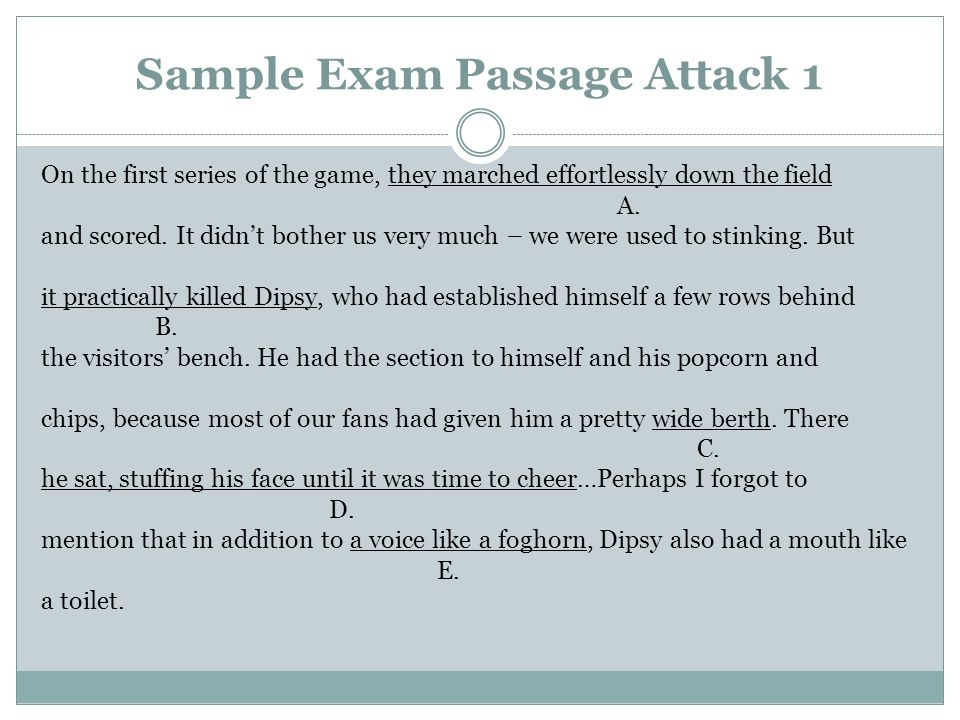 Sample Exam Passage Attack 1