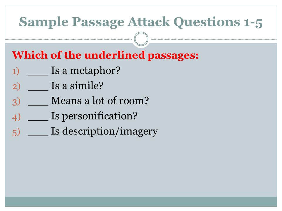 Sample Passage Attack Questions 1-5