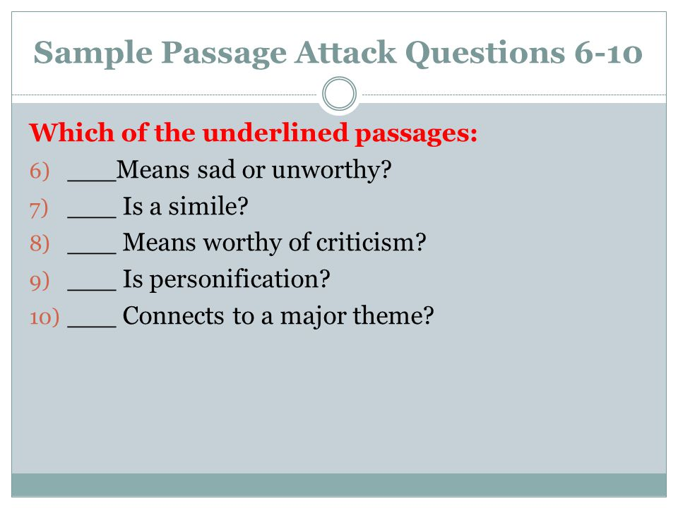 Sample Passage Attack Questions 6-10