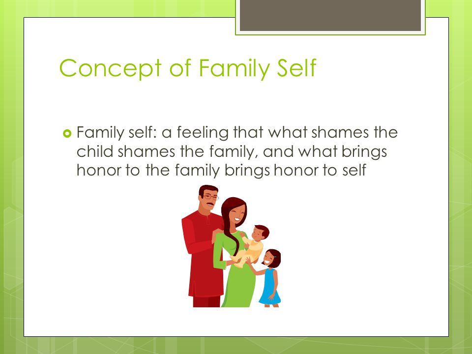 Concept of Family Self Family self: a feeling that what shames the child shames the family, and what brings honor to the family brings honor to self.