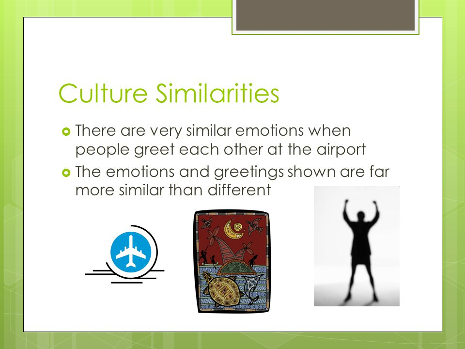 Culture Similarities There are very similar emotions when people greet each other at the airport.