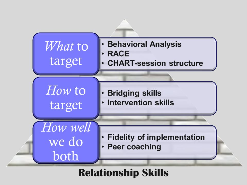 How well we do both What to target How to target Relationship Skills