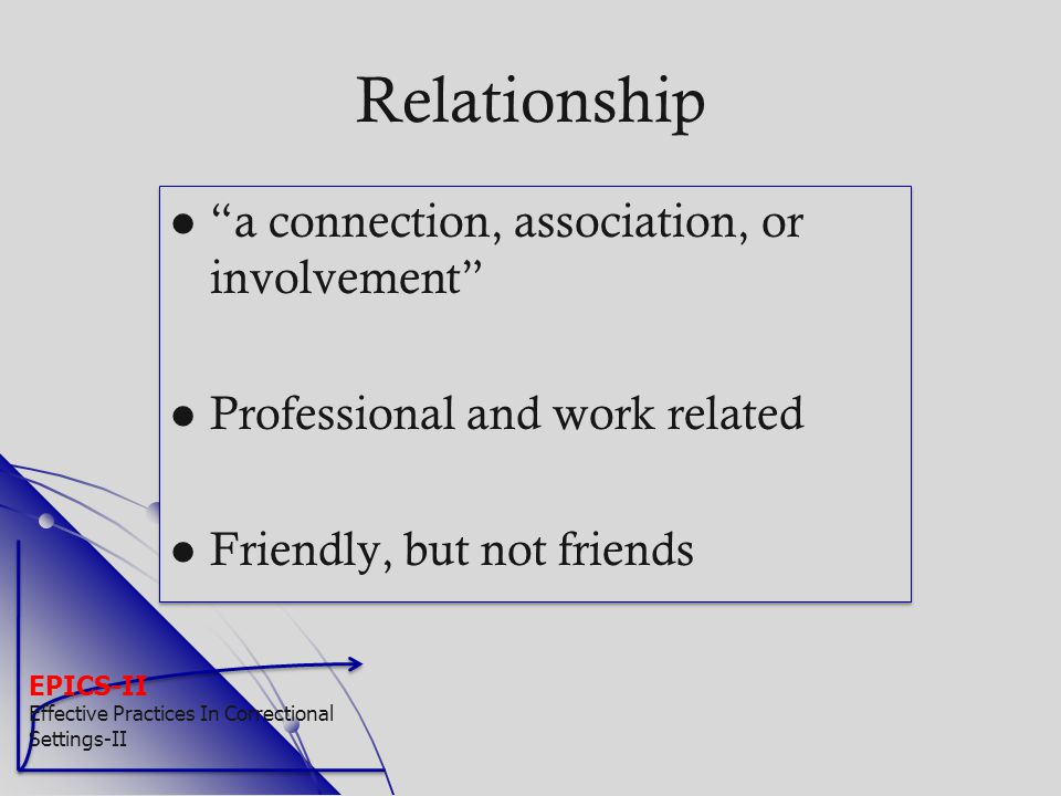 Relationship a connection, association, or involvement
