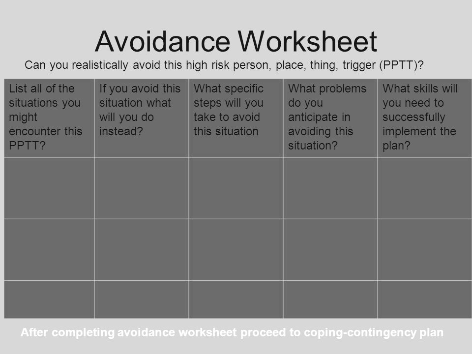 Avoidance Worksheet Can you realistically avoid this high risk person, place, thing, trigger (PPTT)