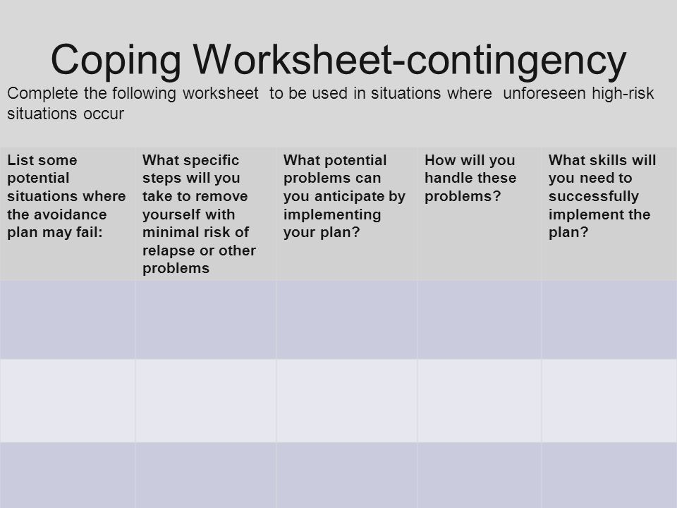 EPICSII Effective Practices in Correctional SettingsII ppt – High Risk Situations for Relapse Worksheet