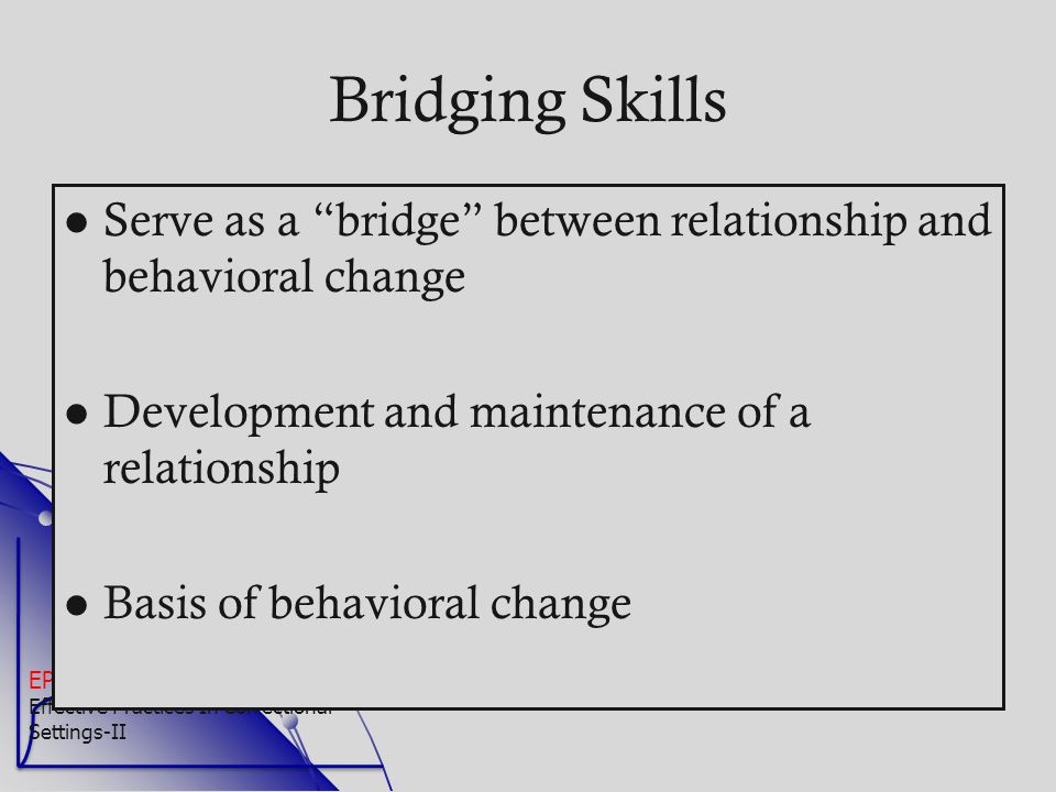 Bridging Skills Serve as a bridge between relationship and behavioral change. Development and maintenance of a relationship.