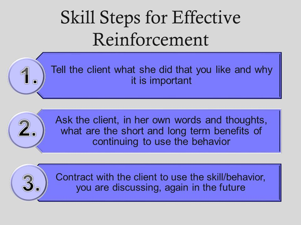 Skill Steps for Effective Reinforcement