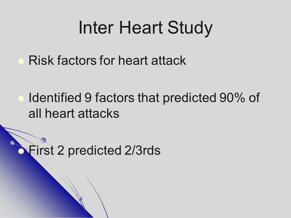 Inter Heart Study Risk factors for heart attack