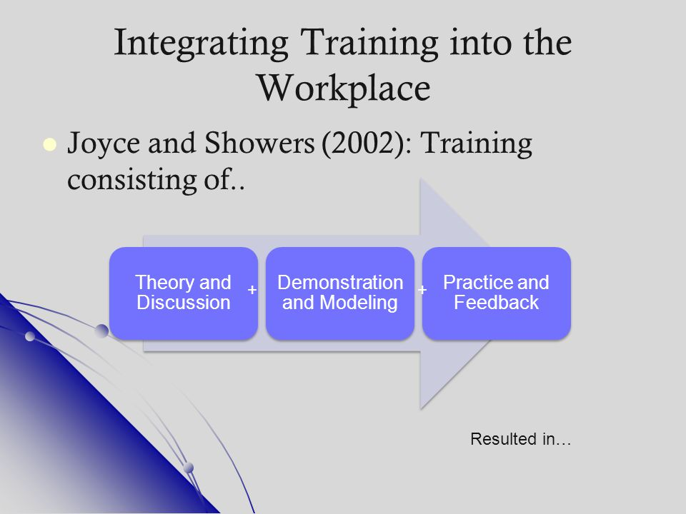 Integrating Training into the Workplace