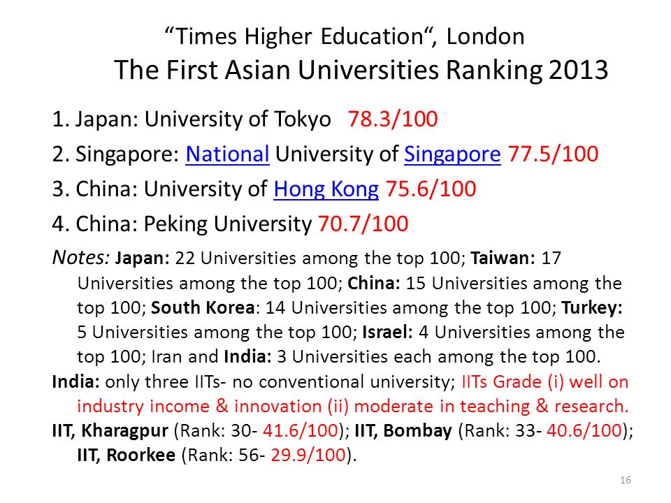 Times Higher Education , London The First Asian Universities Ranking 2013