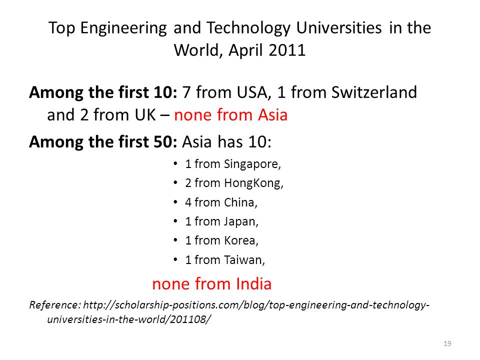 Top Engineering and Technology Universities in the World, April 2011