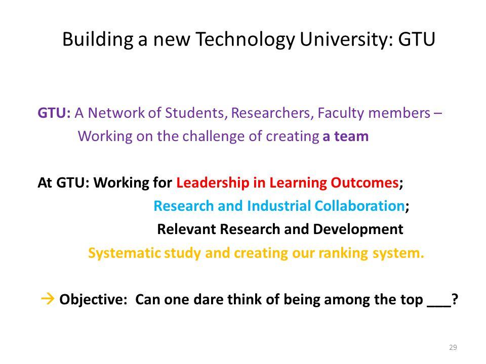 Building a new Technology University: GTU