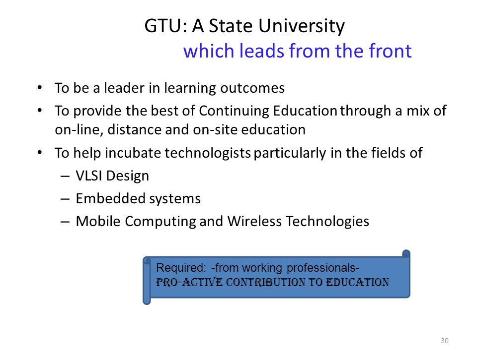 GTU: A State University which leads from the front