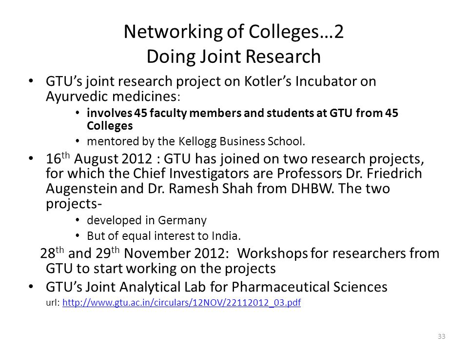 Networking of Colleges…2 Doing Joint Research