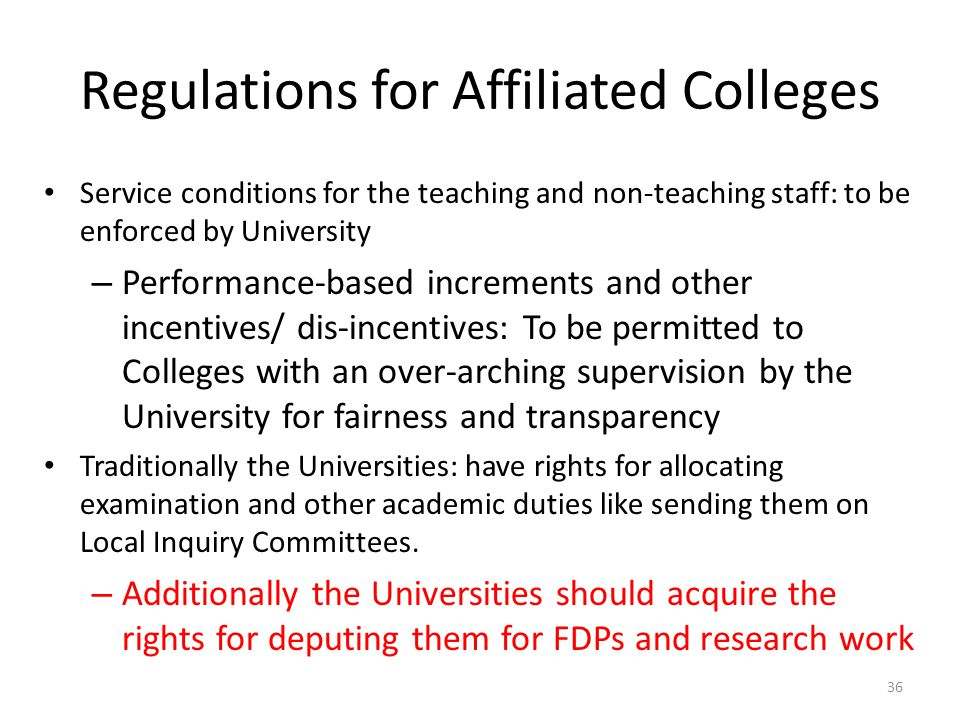 Regulations for Affiliated Colleges