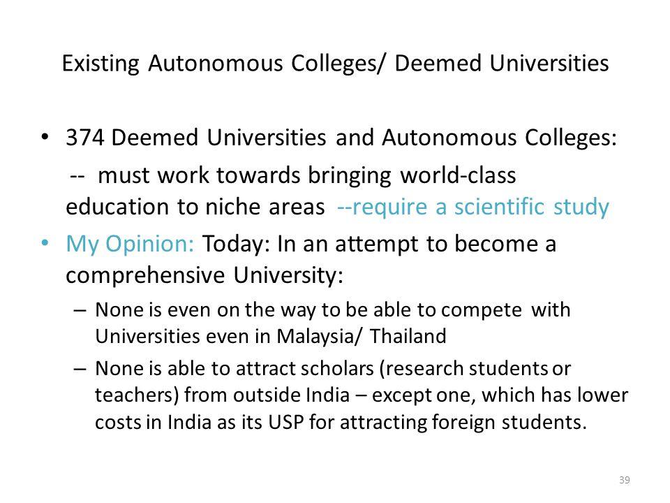 Existing Autonomous Colleges/ Deemed Universities