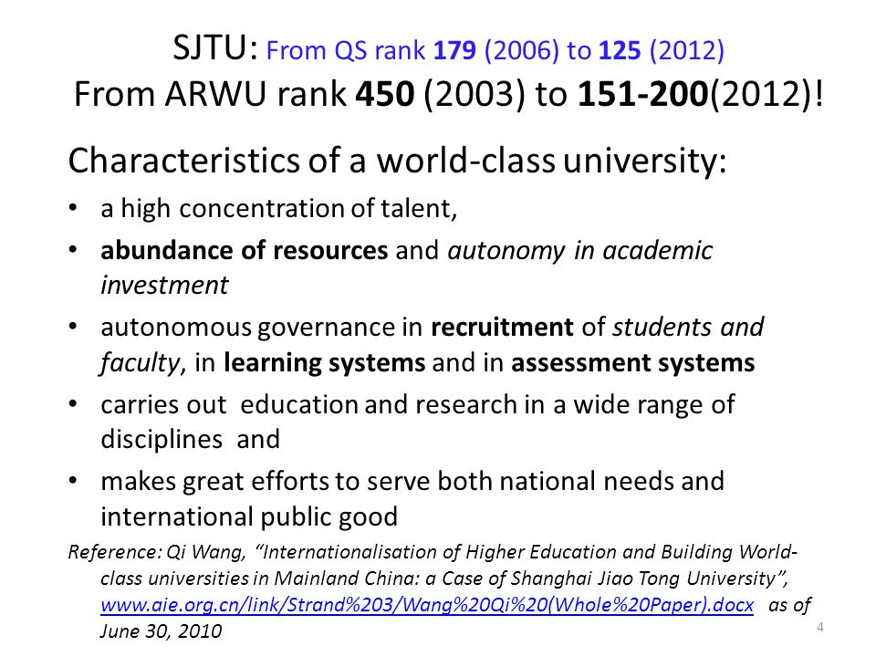 Characteristics of a world-class university:
