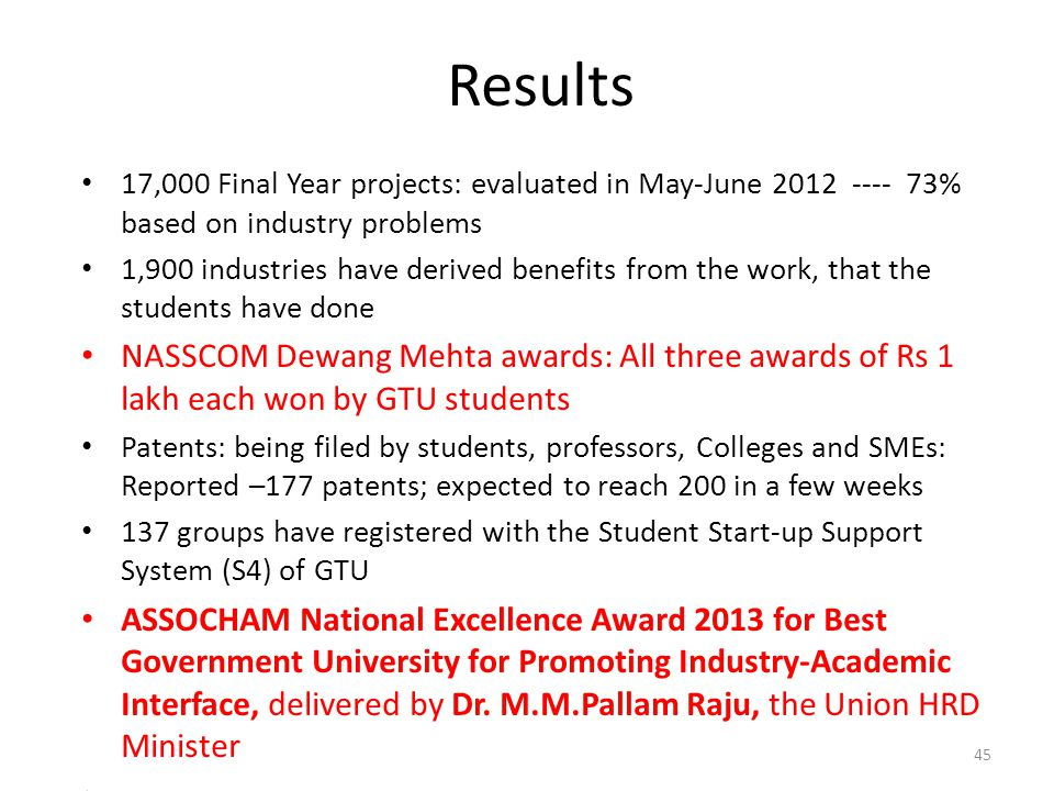Results 17,000 Final Year projects: evaluated in May-June 2012 ---- 73% based on industry problems.
