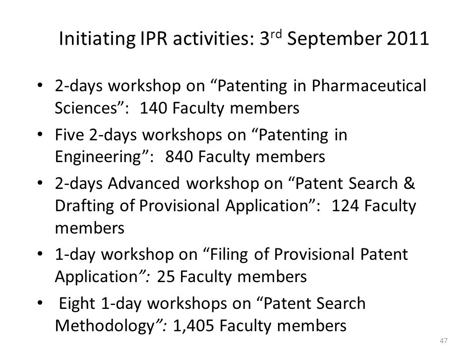 Initiating IPR activities: 3rd September 2011