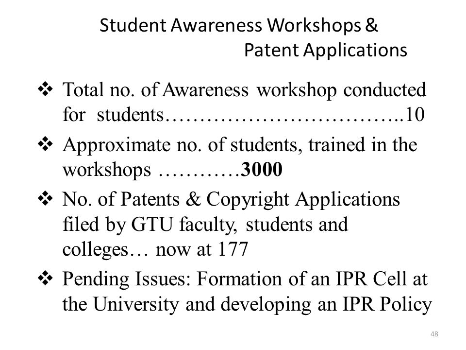 Student Awareness Workshops & Patent Applications