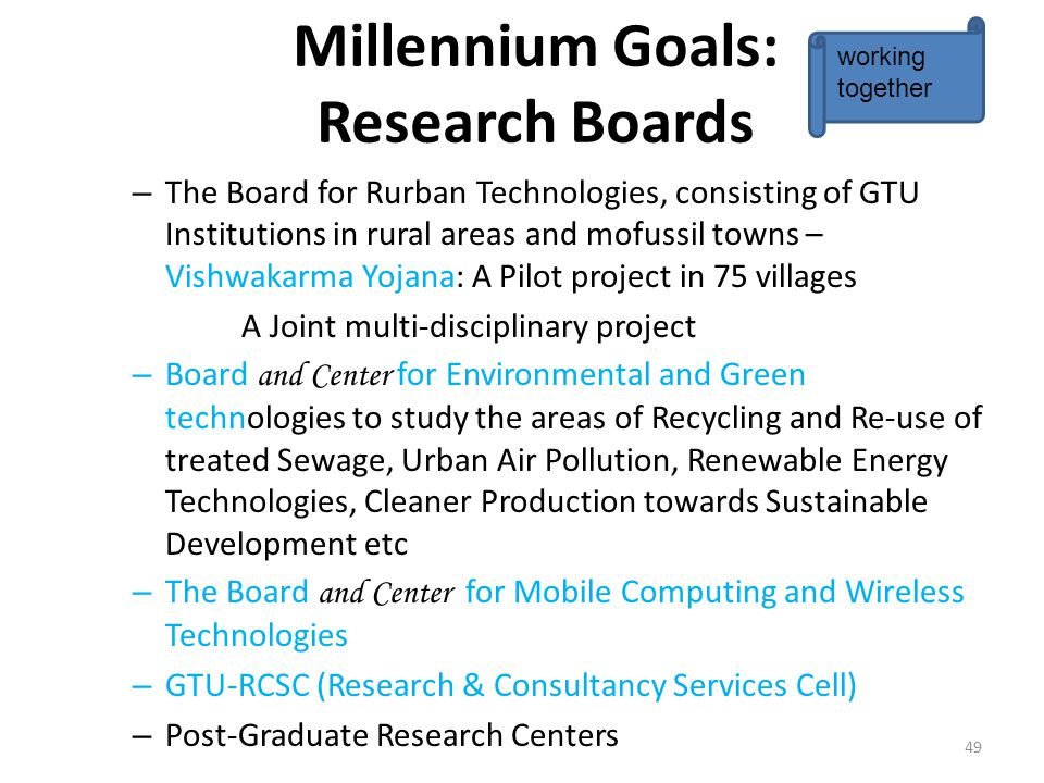 Millennium Goals: Research Boards