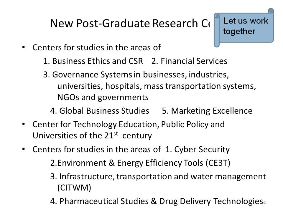New Post-Graduate Research Centers
