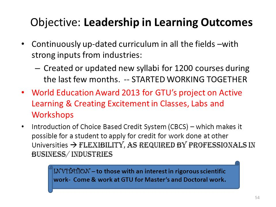 Objective: Leadership in Learning Outcomes