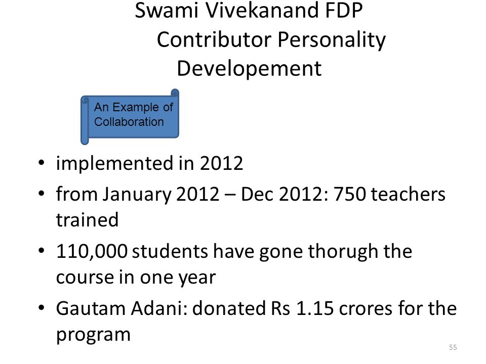Swami Vivekanand FDP Contributor Personality Developement