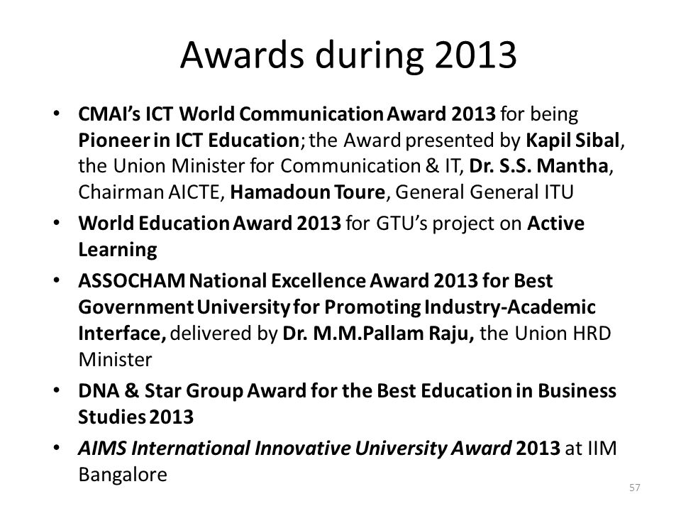 Awards during 2013