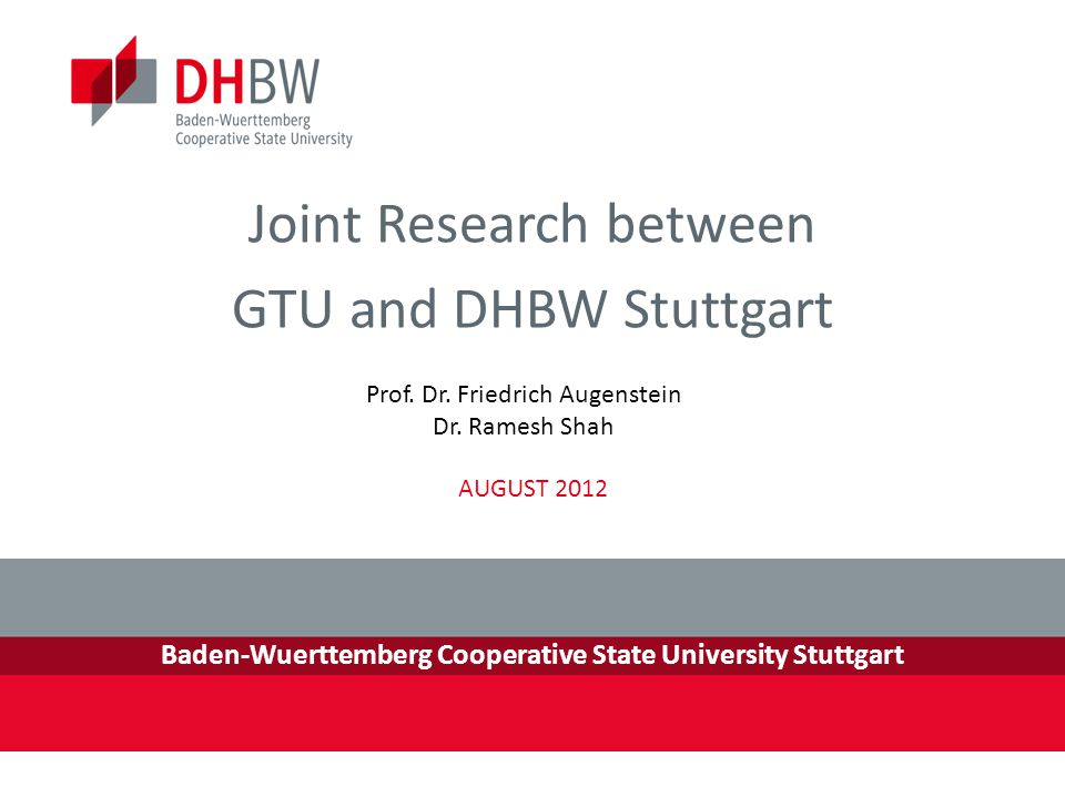 Joint Research between GTU and DHBW Stuttgart