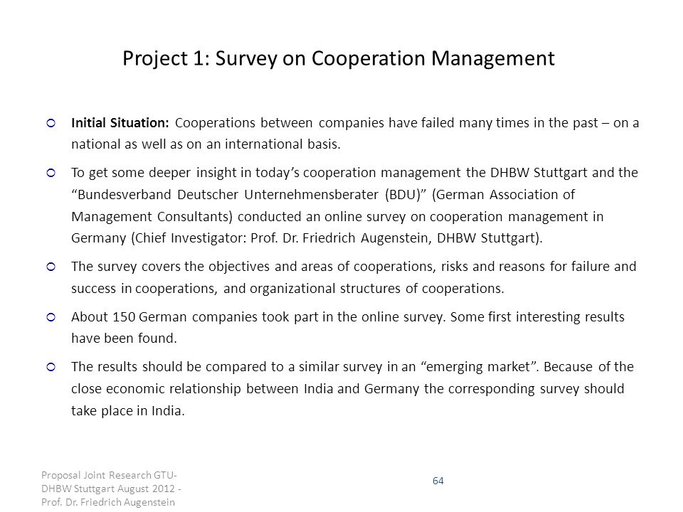 Project 1: Survey on Cooperation Management