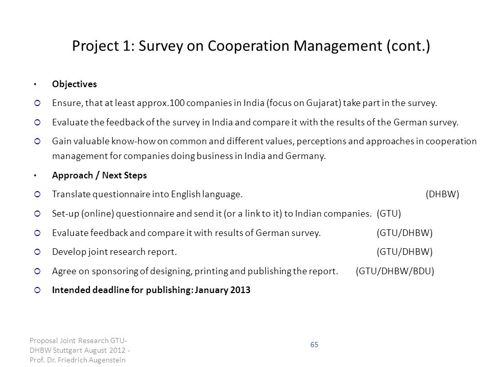 Project 1: Survey on Cooperation Management (cont.)