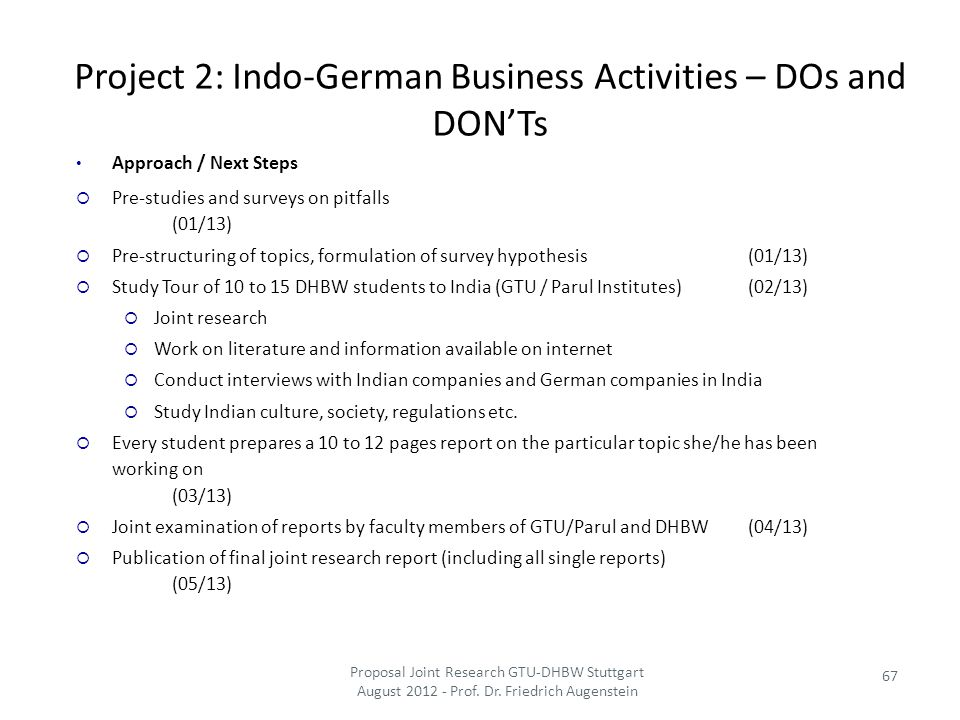 Project 2: Indo-German Business Activities – DOs and DON'Ts