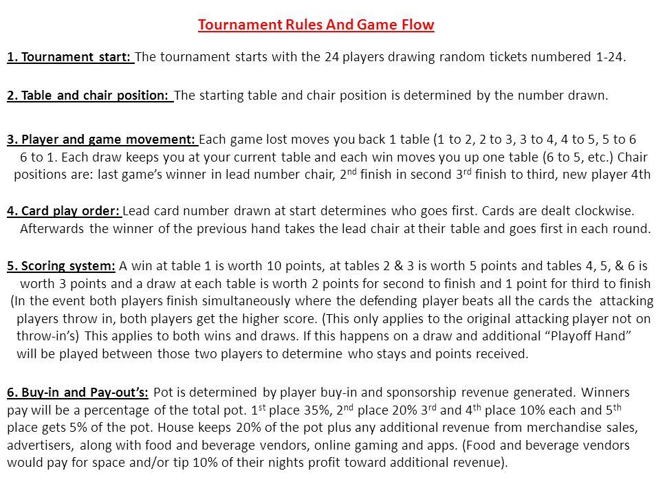 Tournament Rules And Game Flow