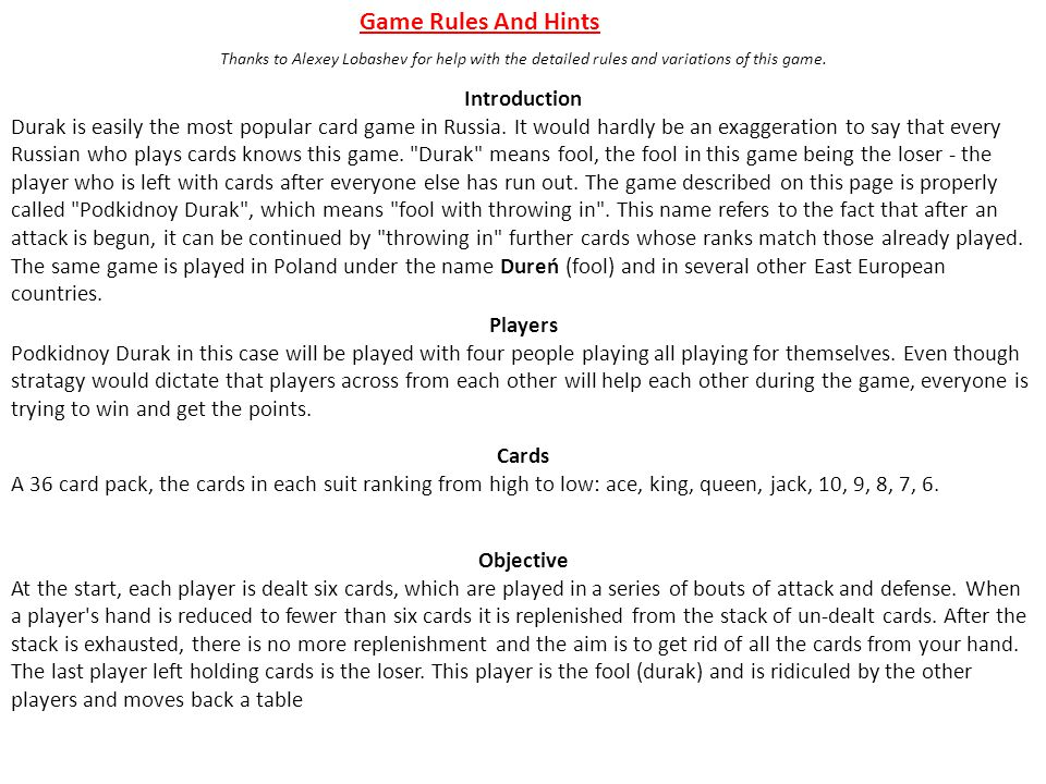 Game Rules And Hints Introduction