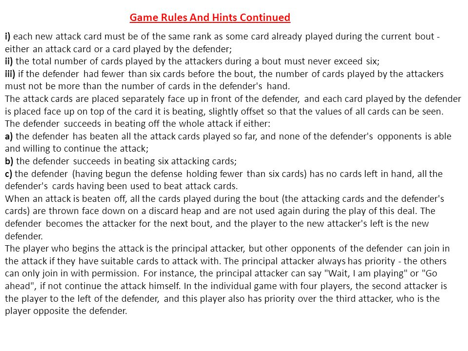 Game Rules And Hints Continued