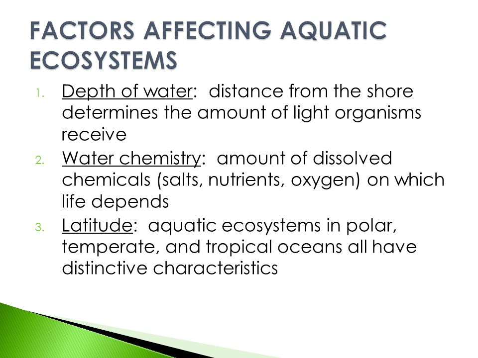 FACTORS AFFECTING AQUATIC ECOSYSTEMS