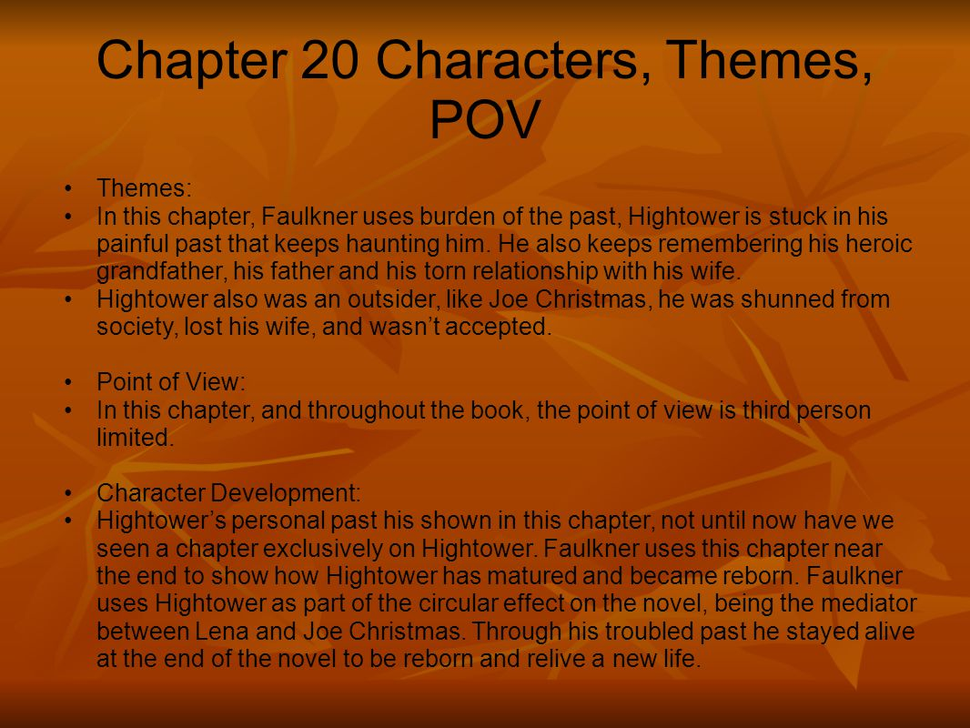 Chapter 20 Characters, Themes, POV