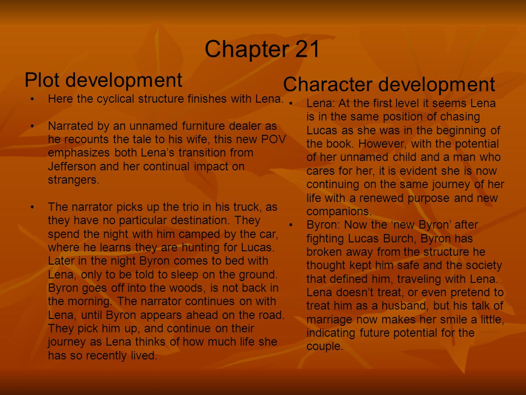 Chapter 21 Plot development Character development