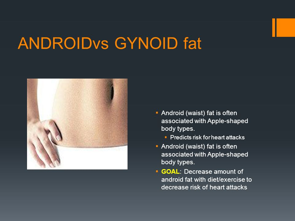 ANDROIDvs GYNOID fat Android (waist) fat is often associated with Apple-shaped body types. Predicts risk for heart attacks.