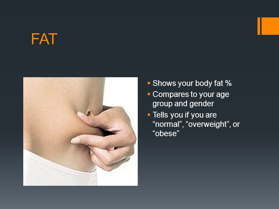 FAT Shows your body fat % Compares to your age group and gender