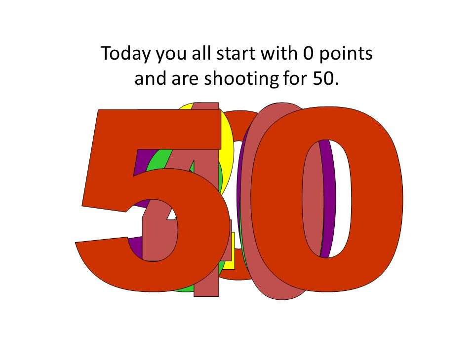 Today you all start with 0 points and are shooting for 50.
