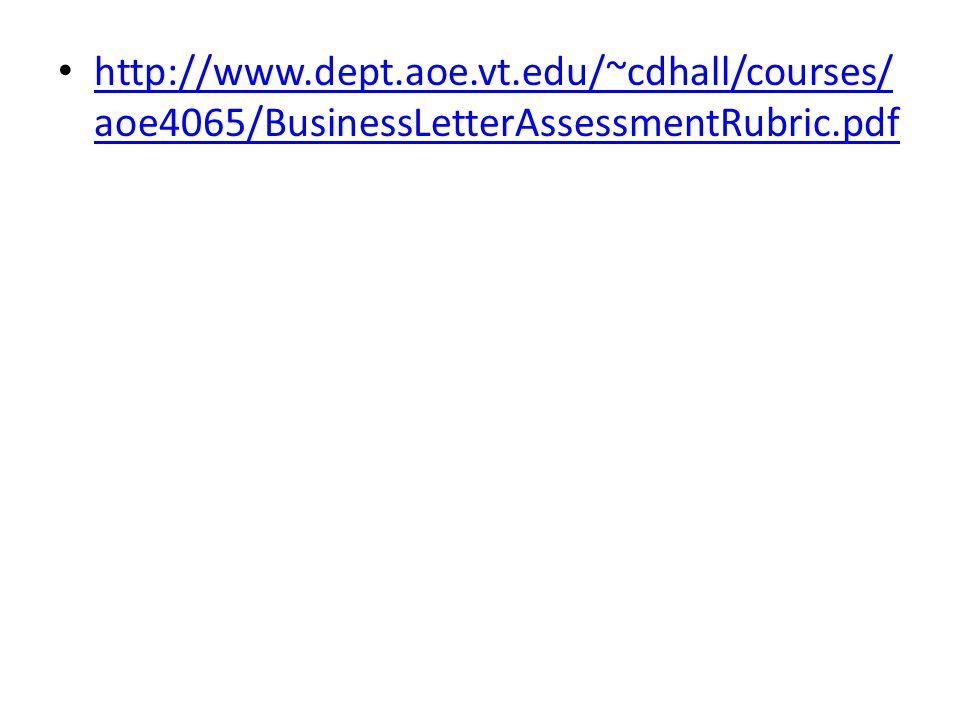 http://www.dept.aoe.vt.edu/~cdhall/courses/aoe4065/BusinessLetterAssessmentRubric.pdf