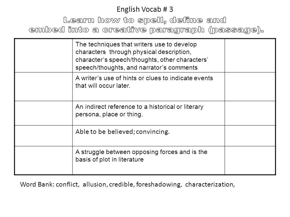 English Vocab # 3 Learn how to spell, define and